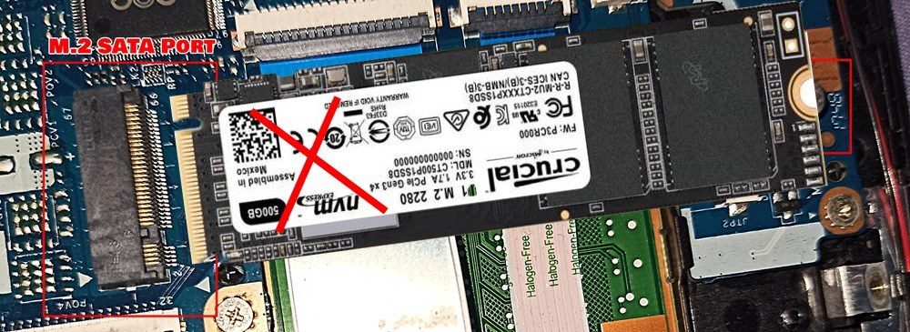 m.2 nvme ssd not getting fit in m.2 sata port