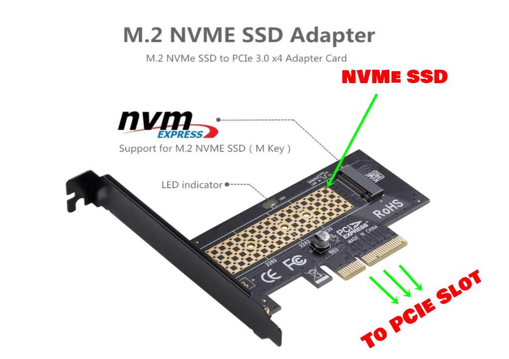 NVMe to PCIe x4 adapter image