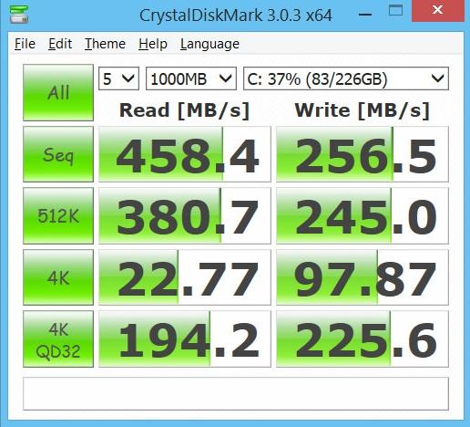 ssd speed test with crystaldiskmark