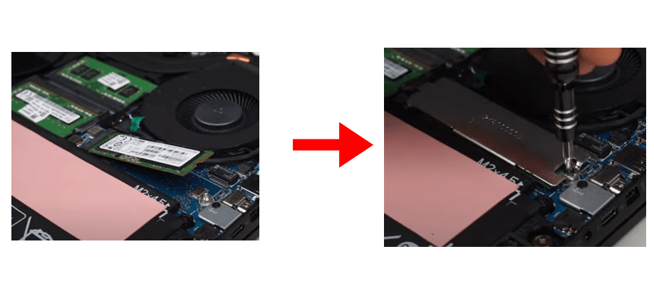 m.2 ssd is installed with the cover