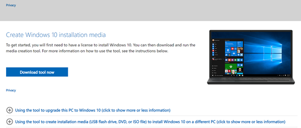 downloading the windows media creation tool