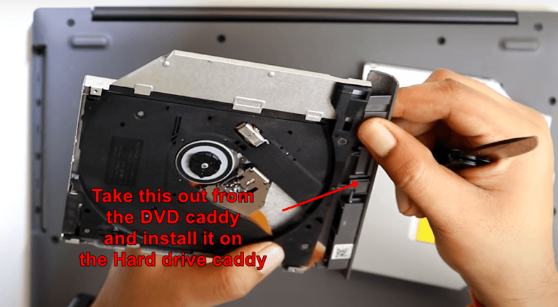 installing the small outer strapon to your hdd caddy