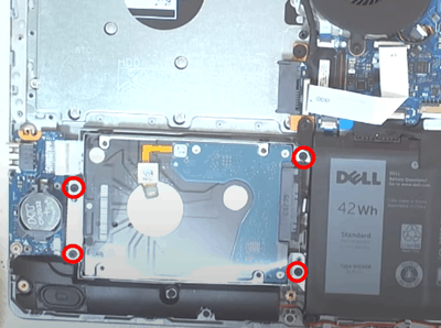 opening the four hard drive screws