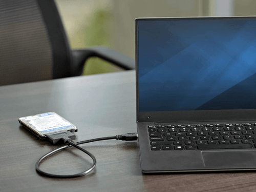 hard drive connected externally to the laptop